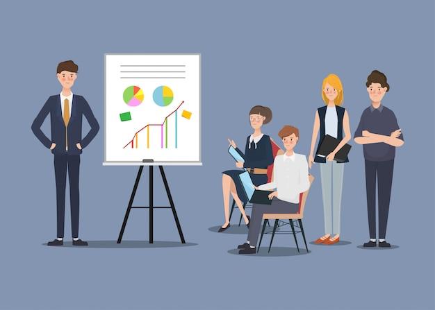 Seminário projeto empresários em corporativo. design de personagens desenhados à mão.