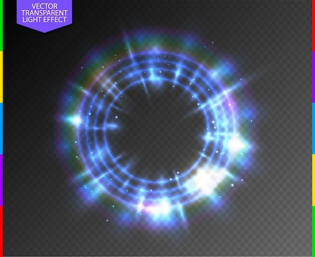 Semitransparente luz azul néon linha anel brilhante