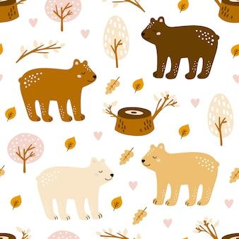 Semless padrão da floresta com urso fofo
