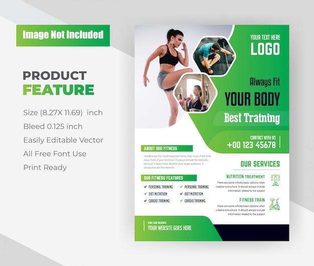Sempre ajuste seu corpo pelo melhor modelo de panfleto de centro de treinamento com cor verde.