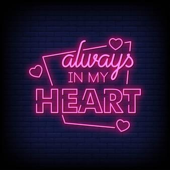 Sempre no meu coração sinais de néon estilo texto