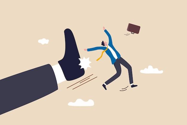 Sendo demitido do trabalho, empresa demitida ou funcionário de baixo desempenho, fracasso empresarial ou conceito de erro, chefe gigante zangado chute demitido funcionário empresário para fora do escritório.