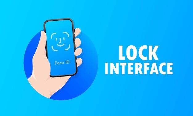 Senha de bloqueio da tela de reconhecimento de id do telefone ou exibição de números de senha da tela de bloqueio