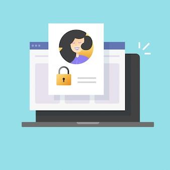 Senha de perfil pessoal acesso seguro à conta negado online ou web digital internet tecnologia de autenticação privada cartoon plana