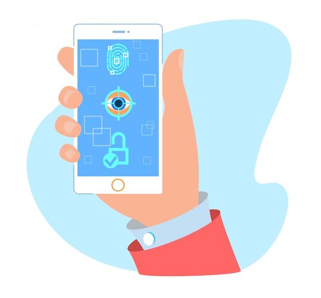 Senha, impressão digital e face desbloquear aplicativo móvel