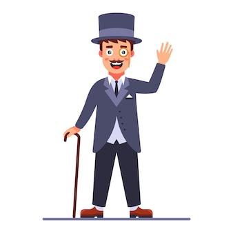 Senhor no cilindro e uma bengala na mão. dândi inglês do século xix. ilustração em vetor personagem plana.
