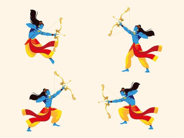 Senhor rama com arco e flecha, conjunto de quatro poses