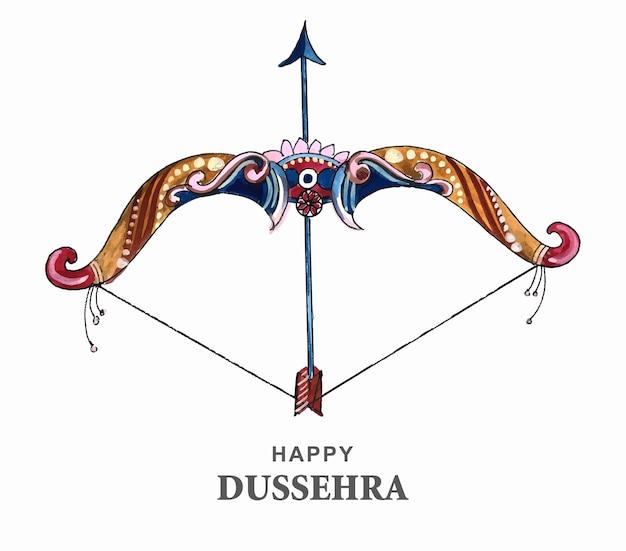 Senhor rama com flecha matando ravana em desenho de dussehra feliz