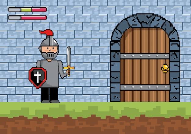 Senhor rapaz com escudo e espada com porta do castelo