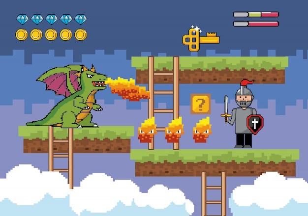 Senhor rapaz com personagem de fogo e dragão com chave