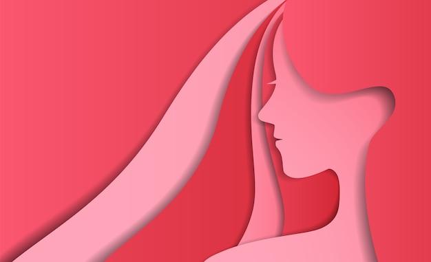 Senhora abstrata no estilo de design de arte de papel cor-de-rosa
