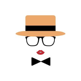 Senhora avatar no chapéu, lábios, óculos e uma gravata borboleta.