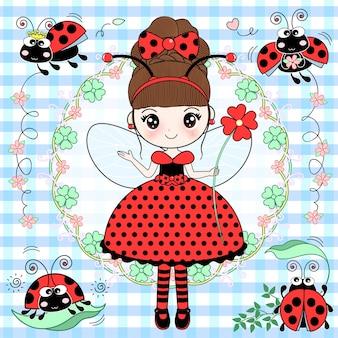 Senhora bonito vestindo um vestido de joaninha