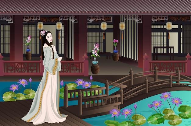 Senhora chinesa antiga em casa