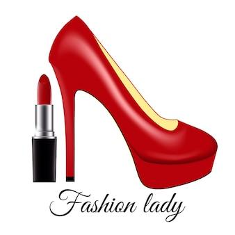 Senhora da moda sapato lacado vermelho em saltos altos e batom em um fundo branco