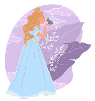 Senhora de vestido longo com coroa na cabeça beijando conto de fadas de sapo, princesa e sapo. quebrando a maldição, o príncipe encantado se transformou em anfíbio. pessoais ou histórias para crianças. vetor em estilo simples