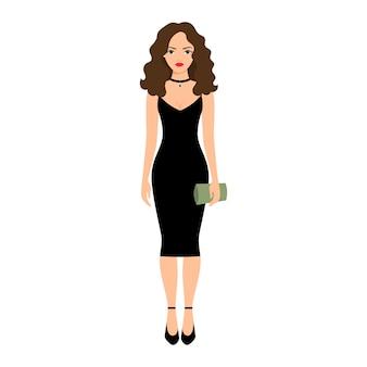 Senhora de vestido preto à noite