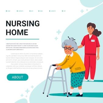 Senhora do lar de idosos com andador de remo e jovem enfermeira