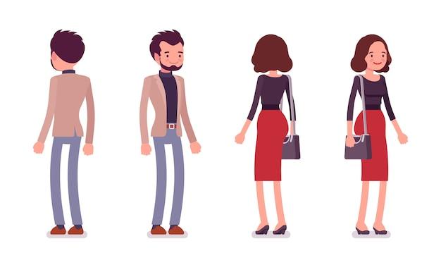 Senhora e cavalheiro em pose de pé, vista traseira e frontal
