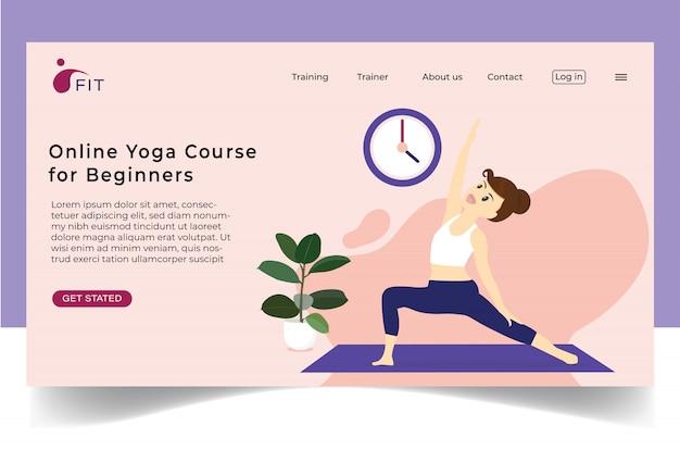 Senhora exercitar on-line ioga em casa plana conceito para site de banner.