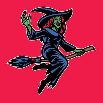 Senhora feiticeira montando a vassoura voadora