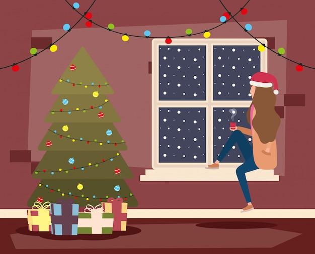 Senhora feliz natal feliz comemorando com árvore