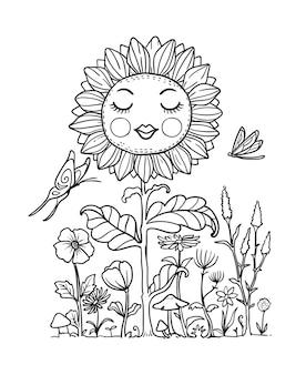 Senhora ilustração flor sol