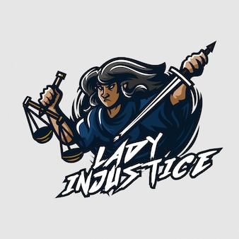 Senhora injustiça esport jogo mascote logotipo modelo
