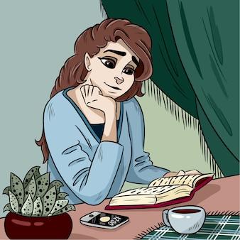 Senhora jovem, leitura, um, livro, vetorial, ilustração