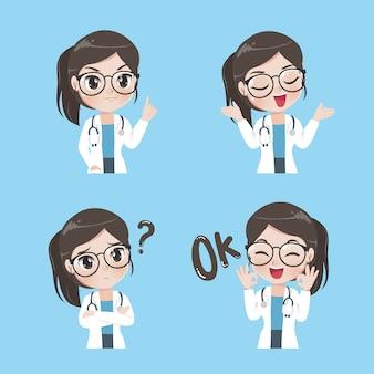 Senhora médico variedade de gestos e ações.
