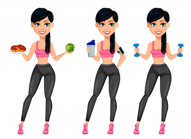 Senhora muito desportiva, mulher atraente fitness