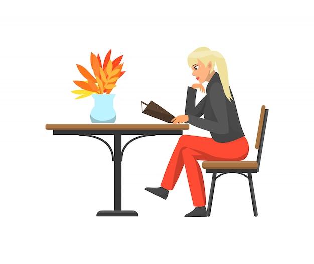Senhora mulher cliente do vetor de menu de leitura de café