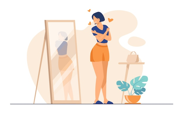 Senhora narcisista em pé no espelho