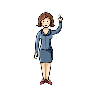 Senhora negócio, apontar, dela, dedo cima, pose