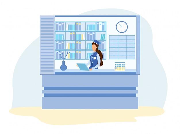 Senhora recepcionista na ilustração de clínica médica