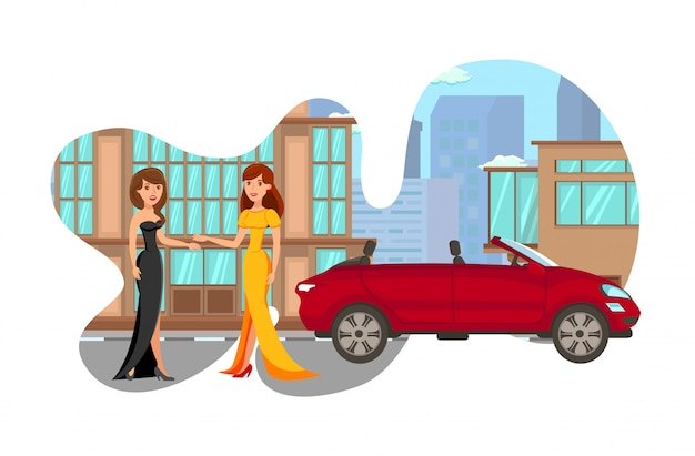 Senhoras glamourosas em ilustração vetorial de vestidos