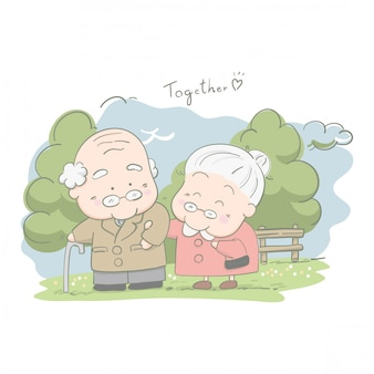 Senior casais andando juntos no parque