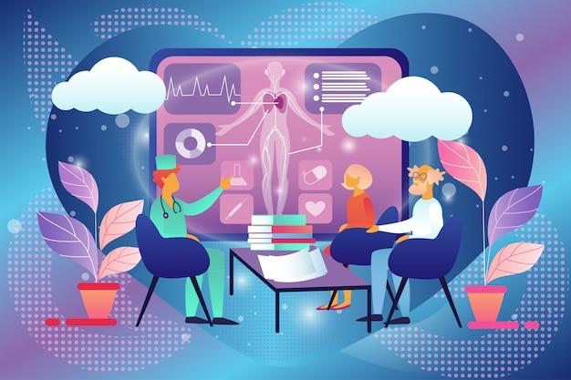 Senior couple visiting doctor consulta, saúde