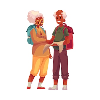 Sênior, velho casal preto viajando com mochilas