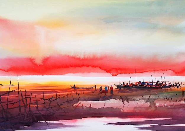 Senset à beira-rio com aquarela colorida no céu