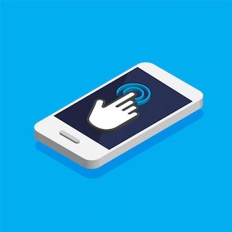 Sensor de tela de toque no smartphone isométrico.