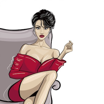 Sentado senhora de vestido vermelho com a mão, mantendo algo