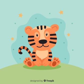 Sentado, tigre, fundo