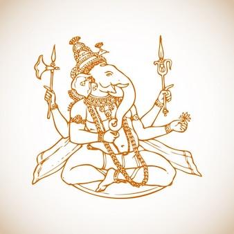 Sentar-se Ganesha Ilustração