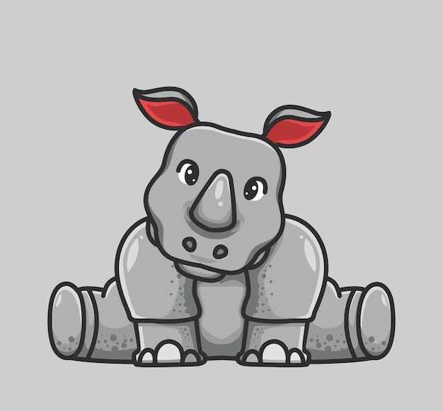 Sente-se um rinoceronte bonito. conceito da natureza animal dos desenhos animados ilustração isolada. estilo simples adequado para vetor de logotipo premium de design de ícone de etiqueta. personagem mascote