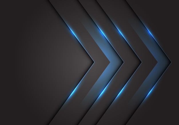 Sentido azul da seta da luz 3d, fundo cinzento escuro do espaço vazio.