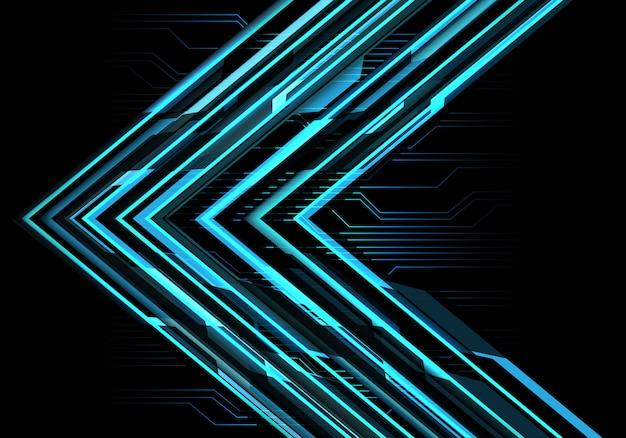 Sentido azul da seta do circuito de poder claro no fundo escuro.