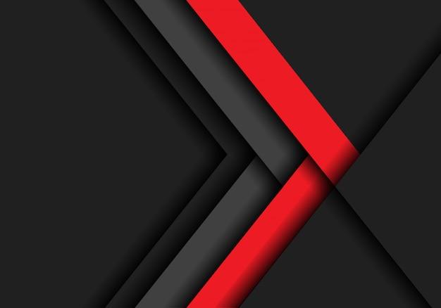 Sentido cinzento vermelho da seta no fundo escuro do espaço vazio.