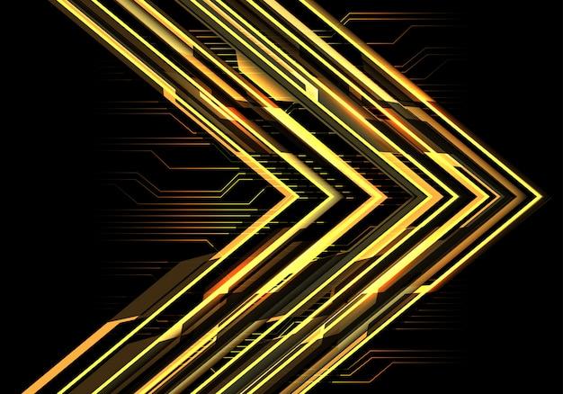 Sentido da seta do circuito do poder da luz amarela no fundo escuro.