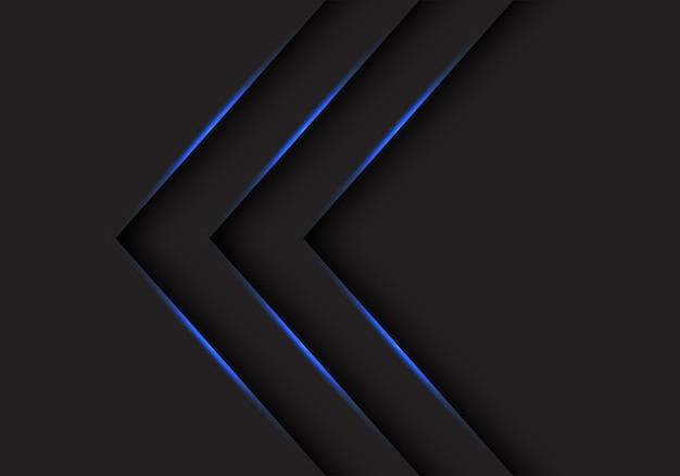 Sentido das setas da luz azul no fundo preto.